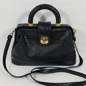 LaTIQUE Black Handbag with Croc Print Trim